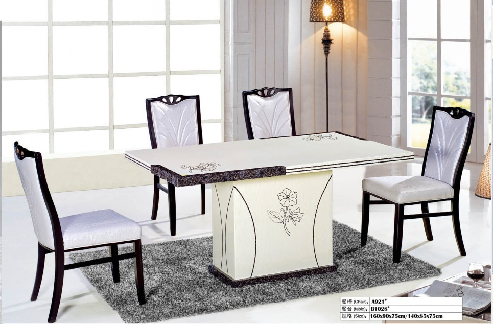 Attractive White Marble Dinning Table/restaurant Furniture Di.