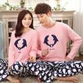 Par de Pijamas de Las Mujeres de Primavera Y Otoño de manga Larga Pijama Conjunto de Salón Amantes ropa de Dormir de Algodón Hombres de Moda del Delfín