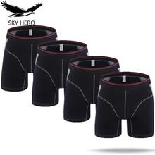 4 teile/los Mens Boxer Homme Baumwolle Unterwäsche Solide Lange Boxer Unterhose Boxershort Mannen für Männer Sexy Mann Hombre Slip