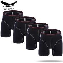 4pcs/lot Mens Boxer Homme Cotton Underwear Solid Long Boxers Underpants Boxershort Mannen for Men Sexy Man Hombre Slip