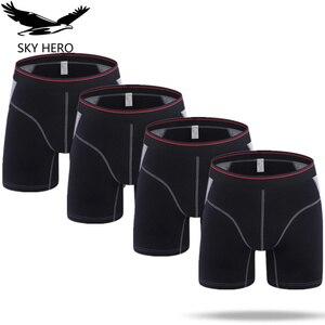 Image 1 - 4pcs/lot Mens Boxer Homme Cotton Underwear Solid Long Boxers Underpants Boxershort Mannen for Men Sexy Man Hombre Slip