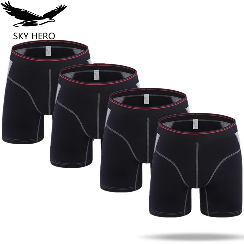 4pcs/lot Mens Boxer Homme Cotton Underwear Solid Long Boxers Underpants Boxershort Mannen for Men Sexy Man Hombre Slip