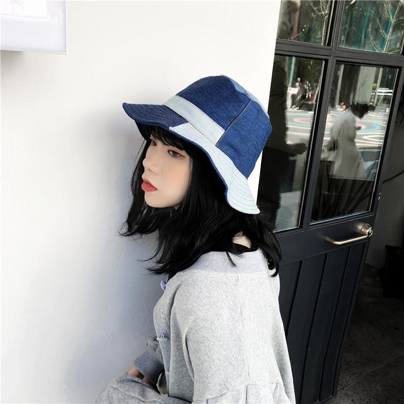 D'origine Américaine vintage peut kaki Japonais denim patchwork chapeau de cowboy