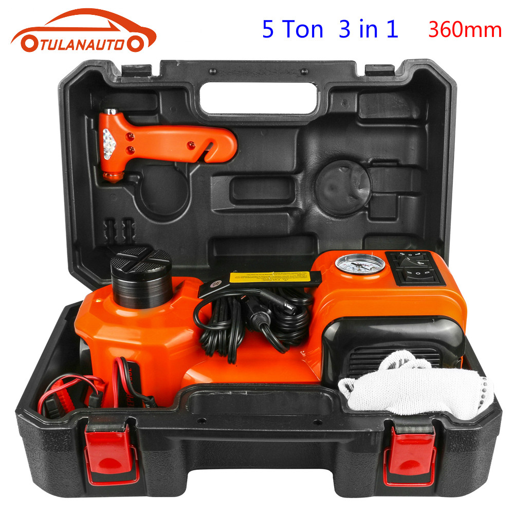 TULANAUTO Car Jacks 12V 5T 3 In 1 Electric Hydraulic Floor Jack Tire Inflator Pump LED Flashlight Safe Hammer Auto Repair Tool