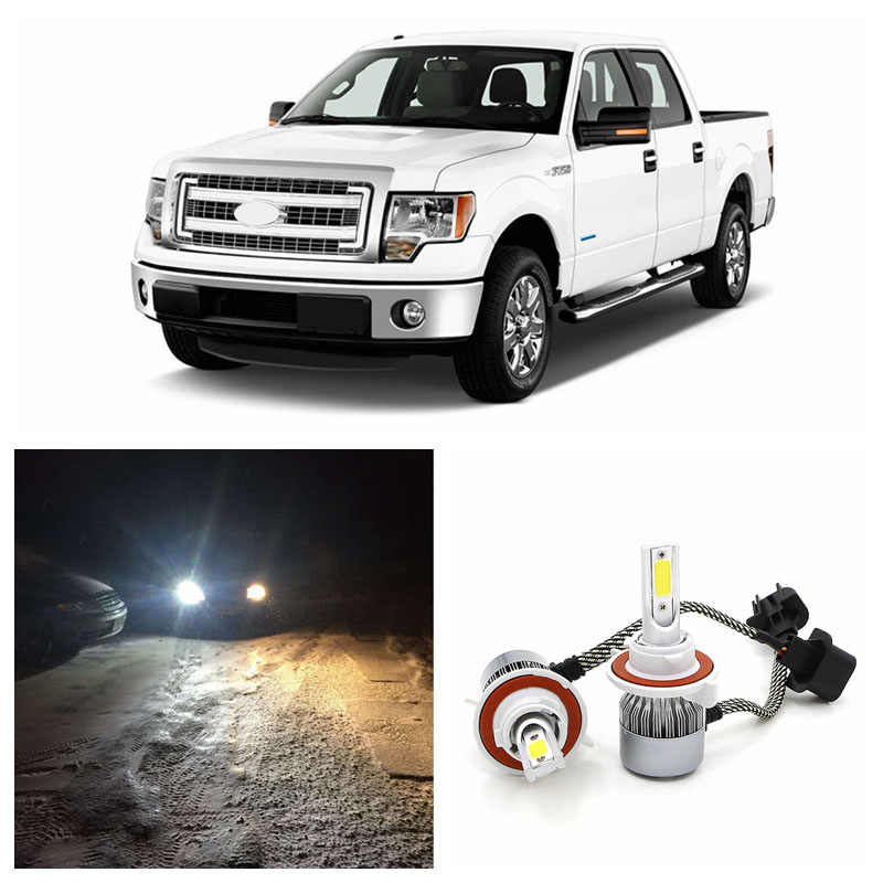 Edislight High Power 72W 7600LM LED Headlight Kit Hi Lo Beam COB Bulbs For 2004-2014 Ford F150 F-150 White Car High Low Light