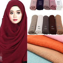 1 pc crinkle shawl fashion muslim hijabs women maxi scarf NEW Skin pleated hijab plain shawls islamic hot sale