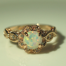 HOMOD 2019 Hot Round Fire Opal Rings for Women Rose Gold CZ Engagement in Copper Promise Ring Xmas Gift