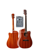 Solid Top 41″ Acoustic Guitars,Full Mahogany Top/Body guitarra eletrica With LCD Pickup, guitar With Hard case