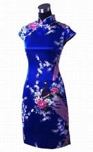 Royal Blue Print Short Sleeve Mini Dress Chinese Women Silk Rayon Qipao Short Cheongsam Peacock&Flower Size S M L XL XXL WC019