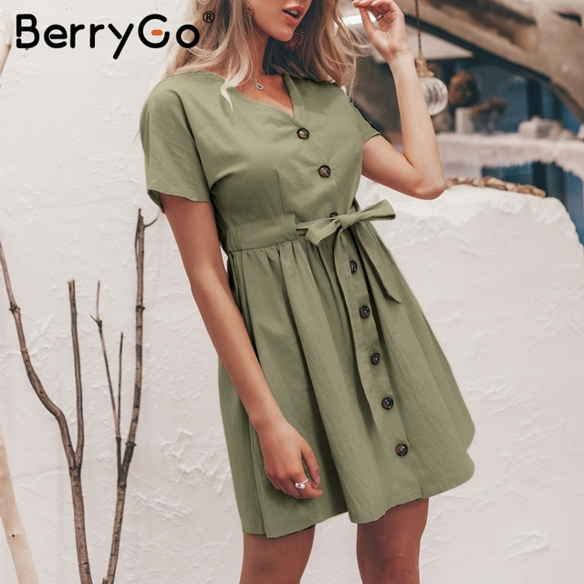 BerryGo Sexy v-neck women dresses linen dress Vintage short sleeve button sash mini dress Casual streetwear summer dress vestido 4