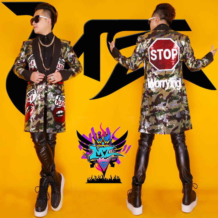 2015 New Nightclub bar Male DJ Singer GD Styles Flaming Lips camouflage sequins jacket costumes for dancer show stars
