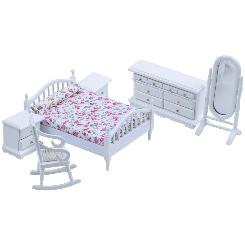 1: 12 Dollhouse Miniature White Wooden Bedroom Furniture Bed Dresser Mirror