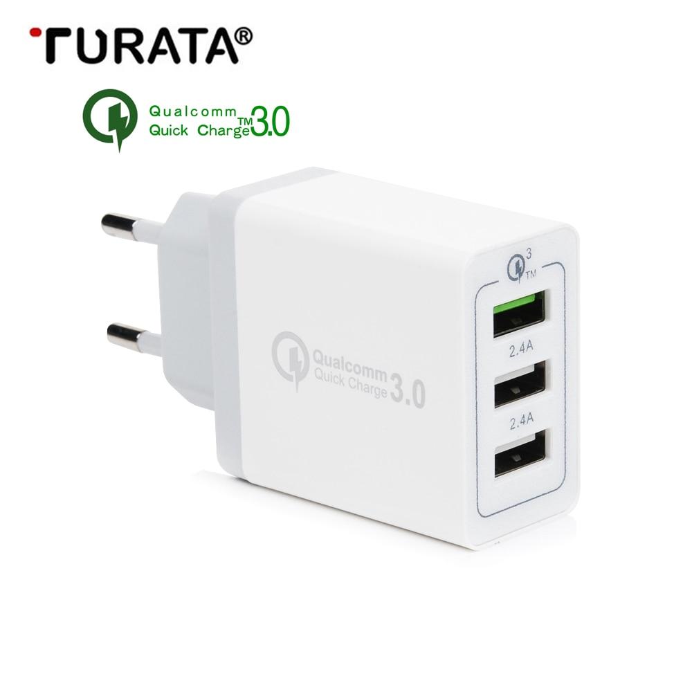 Turata 5 V 2.4A QC3.0 UE Plug 3-Ports USB Mur Voyage Chargeur adaptateur HUB De Bureau USB Charge Rapide pour iphone Xiaomi Samsung LG