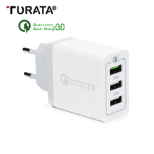 Turata 5V 2.4A QC3.0 EU Plug 3-Ports USB Wall Travel Charger Adapter HUB Desktop USB Fast Charging for iphone Xiaomi Samsung LG