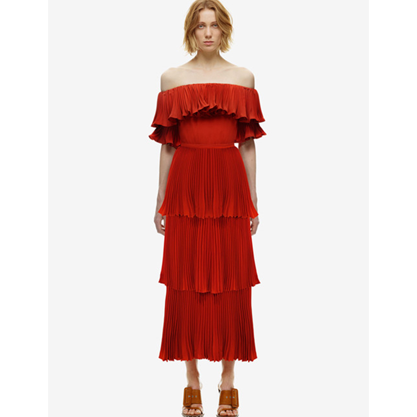 TOP QUALITY 2017 Newest Fashion Designer Runway Dress Women's Slash Neck Cascading Ruffle Pleated Mid-calf Dress