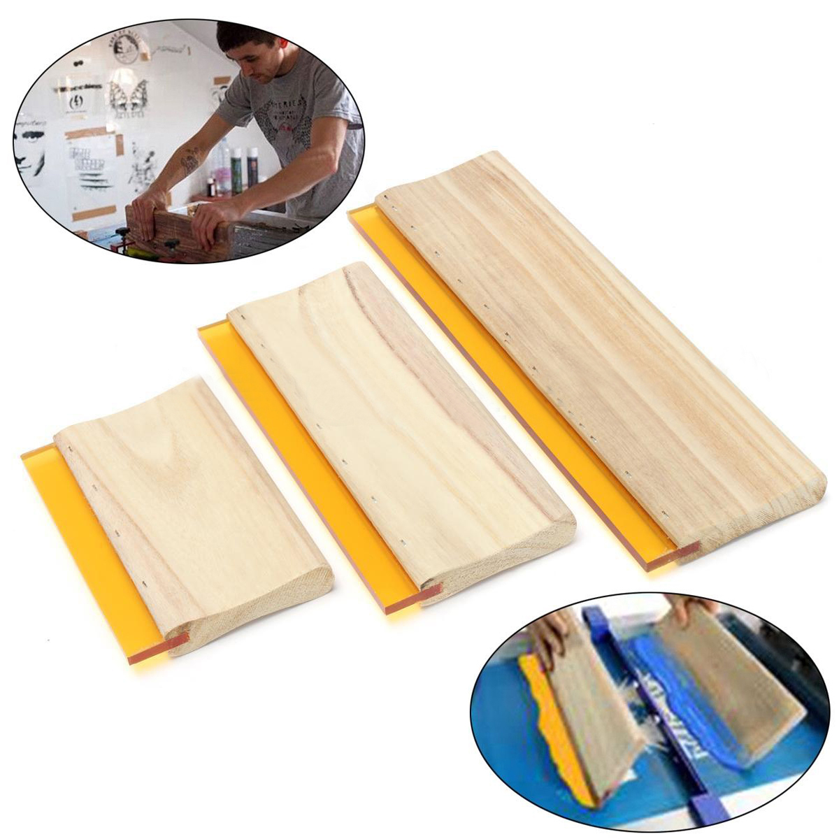 3pcs Lot Wearproof Silk Screen Printing Squeegees Blade Wooden Handle Mayitr Ink Scaper Scratch Board Tools
