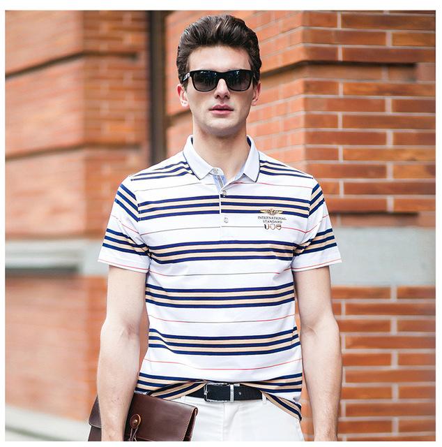 Desgaste del verano de la raya de la solapa de algodón camisas de polo de manga corta camisa de los hombres de ocio de EnglandSK25