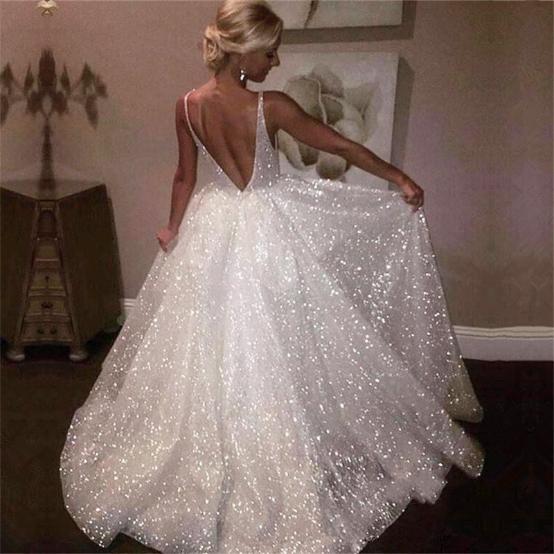 White Sparkly Sequins Tulle Prom Gowns Spaghetti Strap V-Neck Backless Evening Gown Floor-Length Formal Party Dress Custom Made Платье