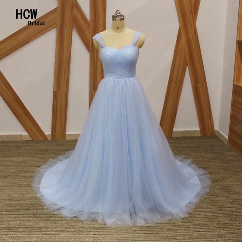 Robe De soirée Simple et élégante bleu clair Tulle bretelles une ligne à lacets dos longues robes De soirée formelles 2017 Robe De soirée