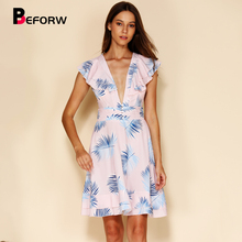 BEFORW 2019 Sexy Backles Lace Up Summer Chiffon Dress Women Elegant Ruffle V Neck Leaf Print Beach Dresses Ladies Casual