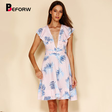 BEFORW 2019 Sexy Backles Lace Up Zomer Chiffon Jurk Vrouwen Elegante Ruches V-hals Leaf Print Beach Jurken Dames Casual jurk(China)