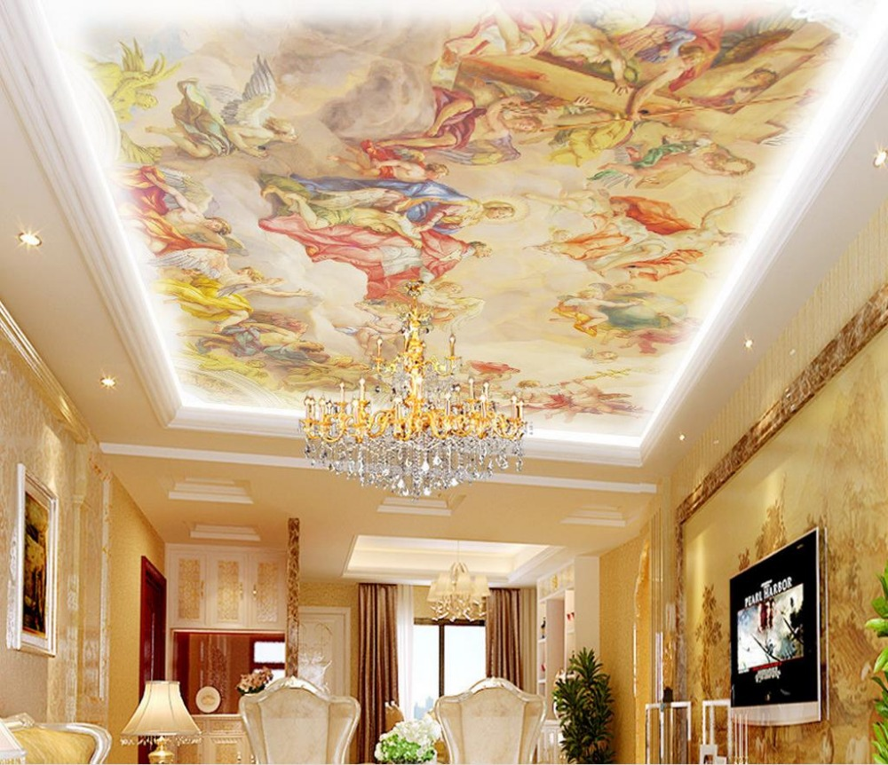 Online get cheap angel mural alibaba group for Ceiling wallpaper