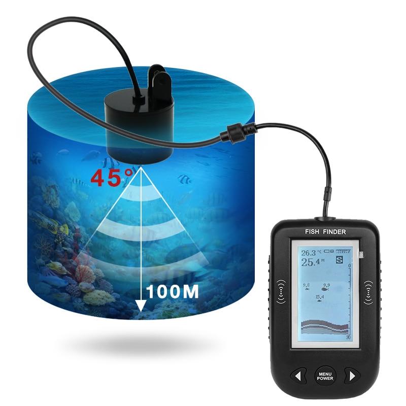 Erchang XF02 ポータブル魚ファインダー水深温度のため有線ソナーセンサートランスデューサ魚群探知魚群探知機  グループ上の スポーツ & エンターテイメント からの 魚群探知機 の中 3