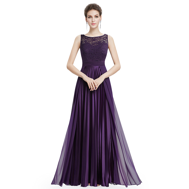 Cheap Prom Dresses Long 2019 Women's Navy Blue A line Lace Sleeveless Round Neck Prom Long Elegant Dresses for Wedding Guest-in Prom Dresses from Weddings & Events    2