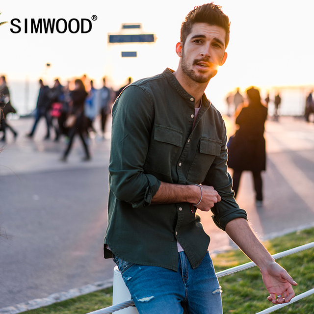 SIMWOOD Casual Shirt  Men 2019 spring New Mandarin Collar Pure Cotton Slim Fit Plus Size Double Pocket Collarles Clothing 180012