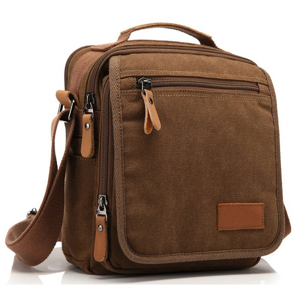 Men's Canvas Bag Vintage Messenger Bag Brand Business Handbags Casual Travel Shoulder Bag Men Crossbody Bags Male Bolsa HQB1790 canvas rivet single shoulder bags vintage fashion solid zipper male crossbody bag luxury casual handbags men travel package