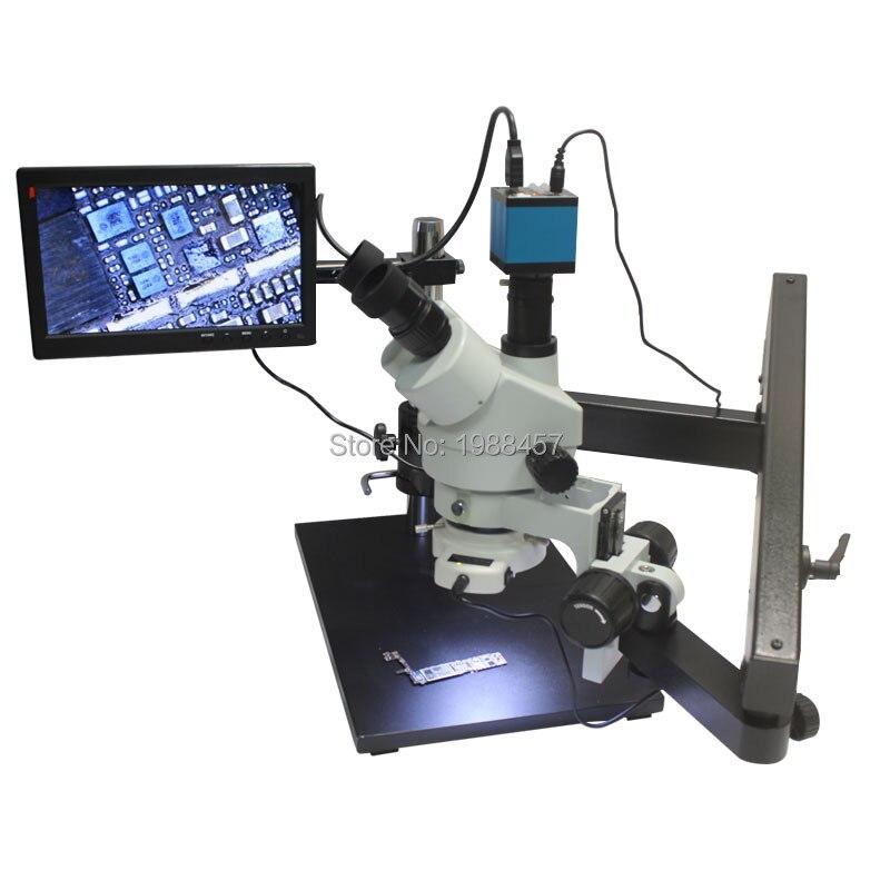 3.5X 90X Тринокулярный шарнирной столп зажим большая база Увеличить Стерео микроскоп с 14MP HDMI USB Камера 144 светодиодный источник света