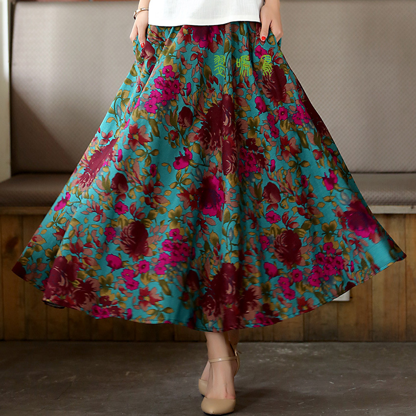 Long Flowing Thick Cotton Multicolor Print Skirts Bohemia Style Ethnic Print Linen Red Skirt