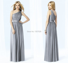 Charming Gray Bridesmaid Dresses with Sash Sexy One Shoulder Party Gowns A-Line Floor Length Chiffon Draped Formal Gowns ER06