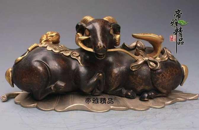 China Copper Bronze 24K Gild Gold Toad Beast Sheep Goat Auspicious Ruyi Statue statue statue bronze statue china - title=