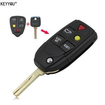 Чехол KEYYOU, Складной флип, умный БЕСКЛЮЧЕВОЙ футляр для дистанционного ключа, 5 кнопок для Volvo S80 S60 V70 XC70 XC90 >> KEYYOU Official Store