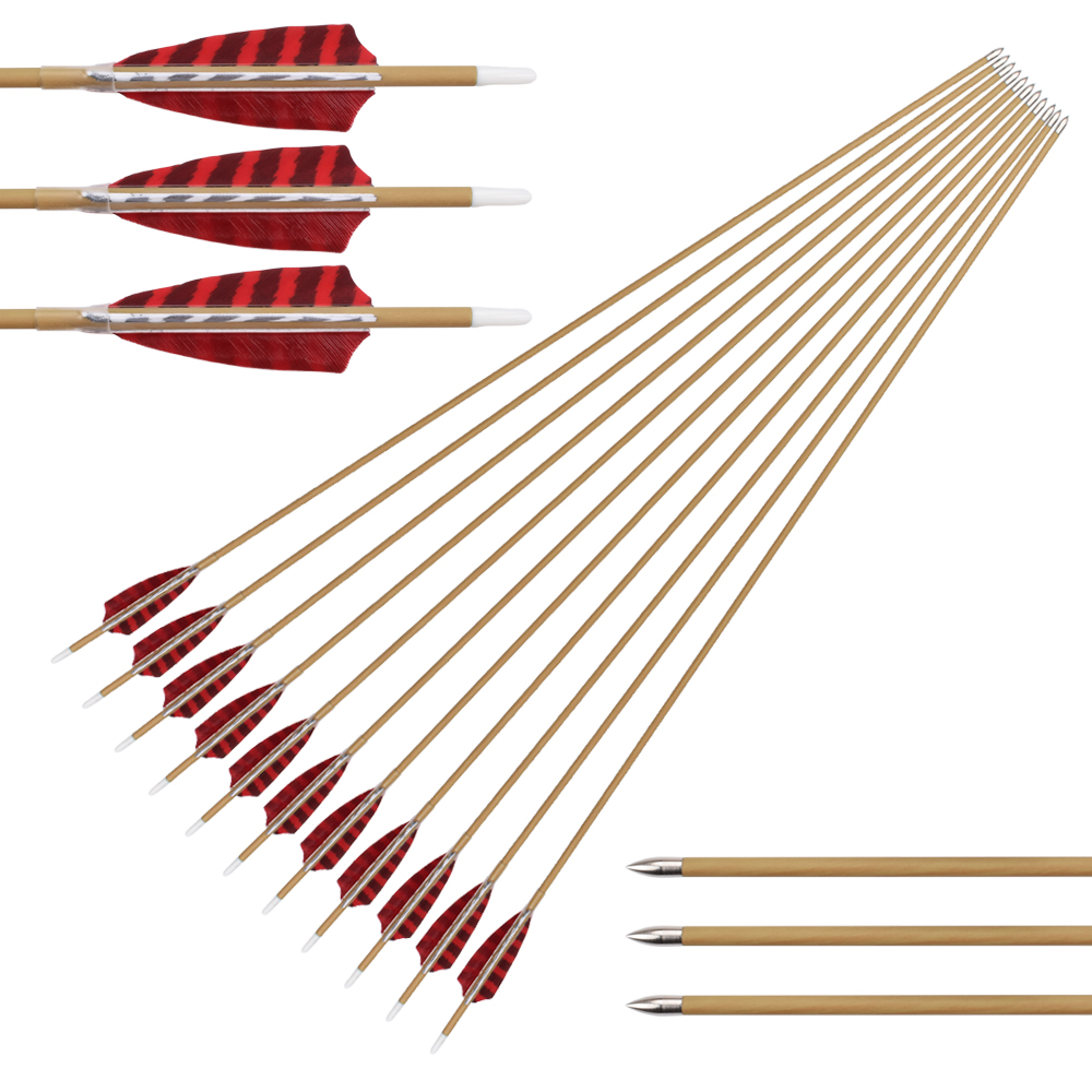 12Pcs 30 inch Wood Camo Pure Carbon Spine 700 800 Shooting Arrows Turkey Feather Compound Bow