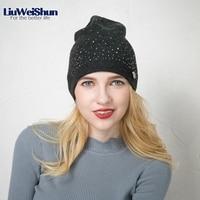 LiuWeiShun Women S Winter Hats Knitted Rhinestone Wool Beanies Warm Wool Female S Cap Skullies Beanies