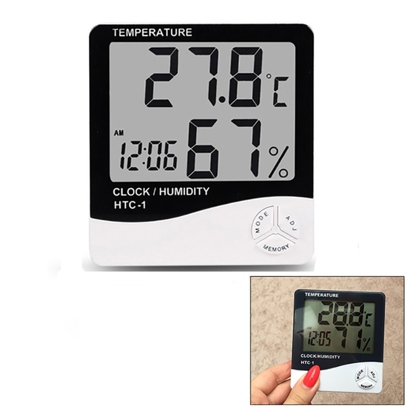 все цены на Indoor Room LCD Electronic Temperature Humidity Meter Digital Thermometer Hygrometer Weather Station Alarm Clock htc-1 htc-2