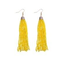 BK Multi Color Fashion Jewelry Resin Beads Boho Enthic Fringe Tassels Dangle Hoop Long Earrings недорого