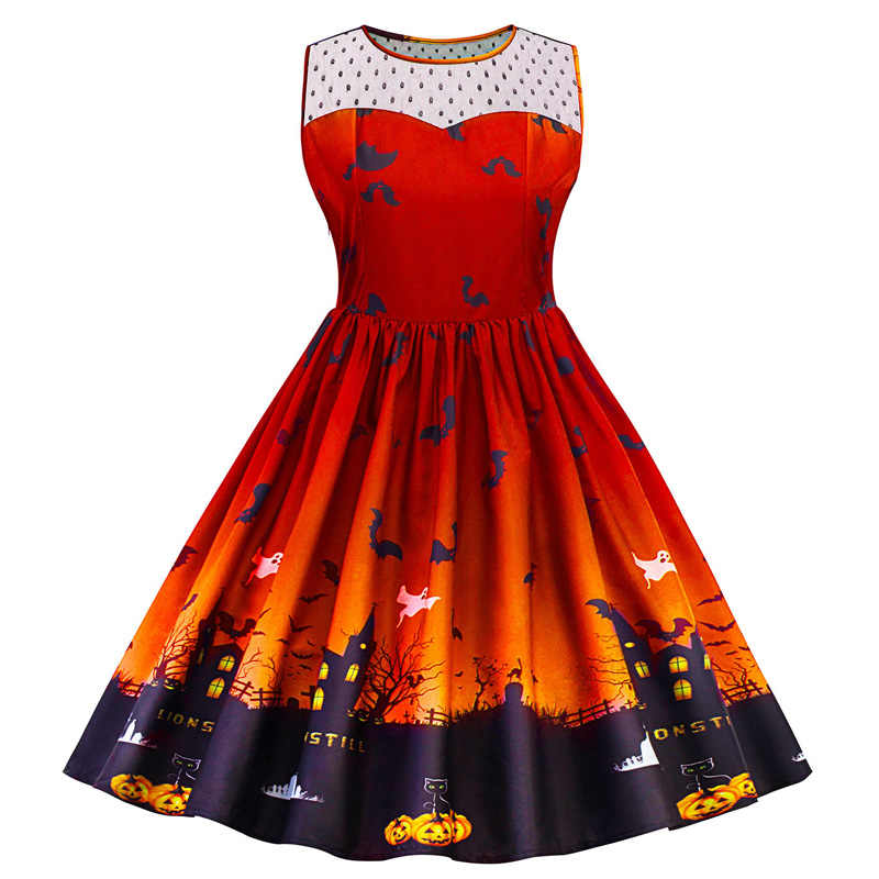Plus Ukuran 5XL Halloween Cetak Renda Panel Vintage Gaun Wanita Retro Rockabilly A-line Pin Up Gaun Pesta Feminino Vestido