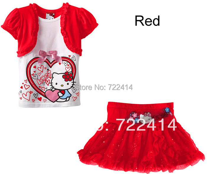 3f38b6f43 2016 New kids 1 set Retail children cartoon clothing set Hello kitty girl t- shirt+skirt suits summer baby clothes sets