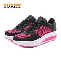 5cm Platform Women Sneakers PU Mesh Round Toe Summer Breathable Mesh Swing Wedge Heel Flat Height