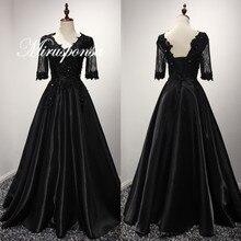 Kylie Elegant Half Sleeve Satin Black Long Prom Dress for Sale Opulent Lace Appliques Vestidos De Festa TT Watches