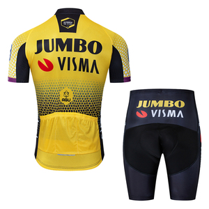 Image 5 - 2019 Pro team jumbo visma bisiklet jersey seti erkek bisiklet maillot MTB Yarış ropa Ciclismo yaz hızlı kuru bisiklet bezi JEL pedi