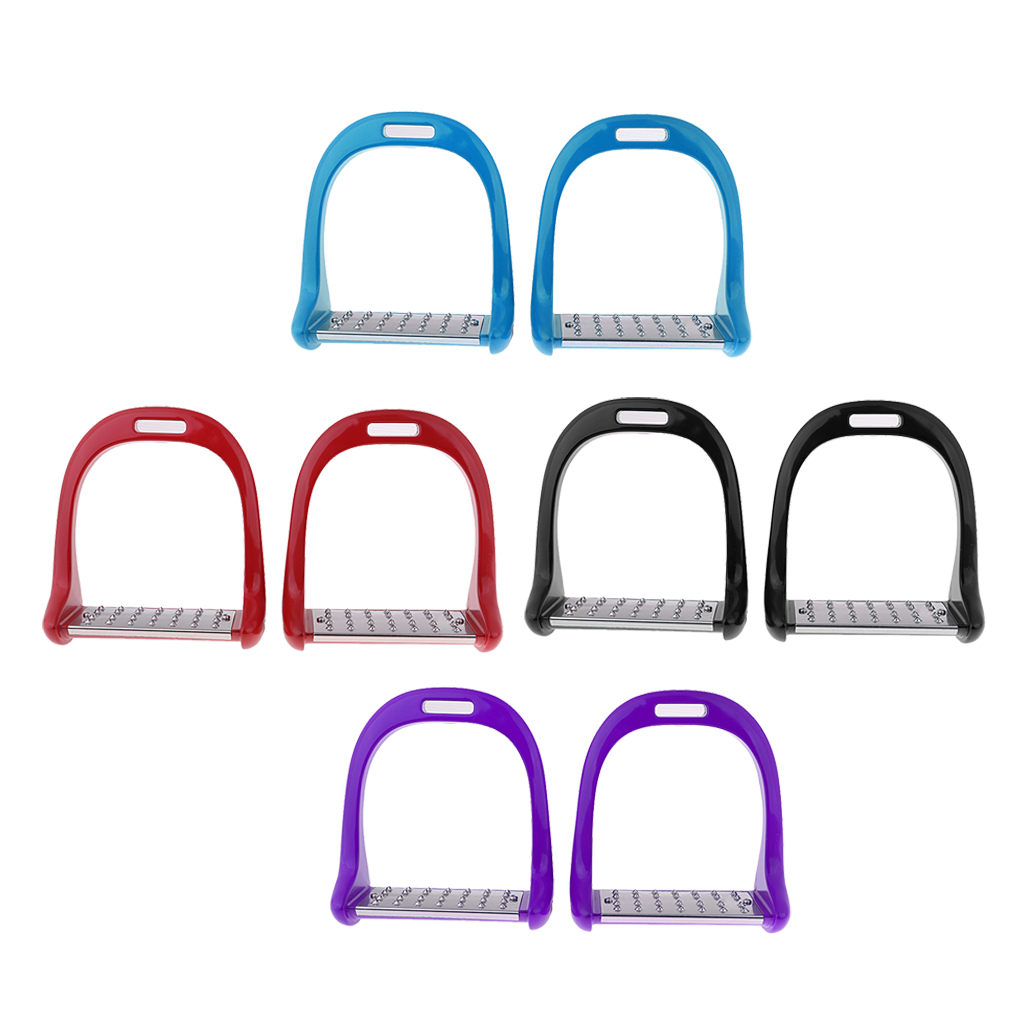 1Pair Stainless Steel Treads Horse Saddle English Stirrups Safe Western Horse Riding Equipment Red/Blue/Black 7.08 X 5.9 Inch