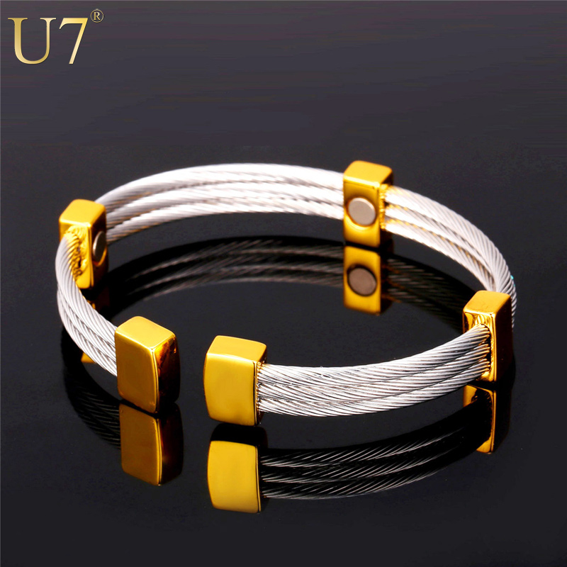 U7 Cuff Bracelets & Bangles Kpop Natural Germanium Magnetic Stone 316L Stainless Steel High Quality Fitness Jewelry For Men H616
