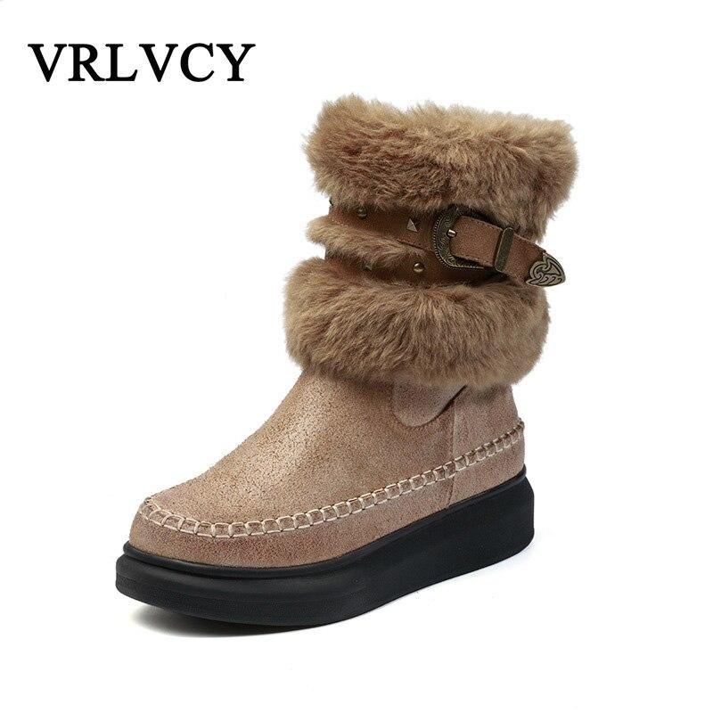 Wild snow boots leather elegant fashion belt buckle plush platform women's leather boots platform bowkont flocking snow boots