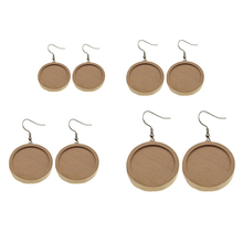 10Pcs/lot Blank Wood Cabochon Stainless Steel Hooks Clasp Earrings Base Settings DIY For Jewelry Making Accessories Wholesale 30pcs stainless steel french earring hooks clasps settings base settings for diy earrings ear jewelry