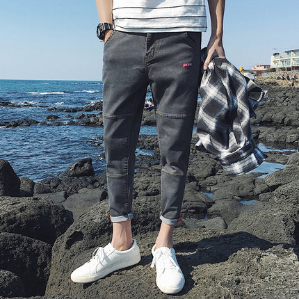 2017 Men's Fashion Brand Slim Straight Jeans Waist Young People Straight Slacks Quality Men Jeans