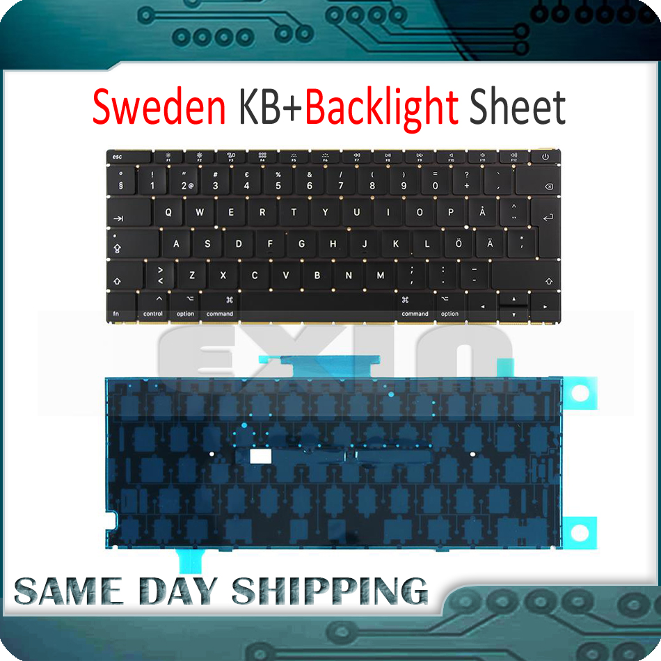 New Laptop A1534 SW Sweden Swedish Keyboard w/ Backlight Backlit +Screws for Macbook 12 A1534 Keyboard 2015 2016 2017 Year image